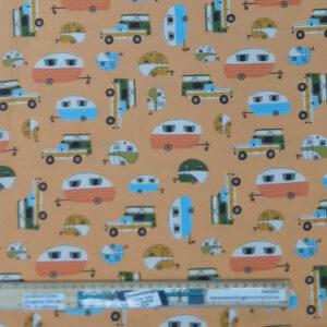 Quilting Patchwork Fabric Caravans Orange Allover 50x55cm FQ