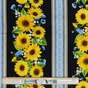 Quilting Patchwork Sewing Fabric Sunflower Garden Border 50x55cm FQ