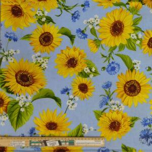 Quilting Patchwork Sewing Fabric Sunflower Garden Blue 50x55cm FQ
