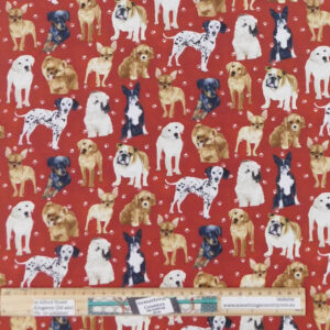 Quilting Patchwork Sewing Fabric My Family Pet Dogs 50x55cm FQ