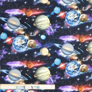 Quilting Patchwork Sewing Fabric Planets Universe Space 50x55cm FQ