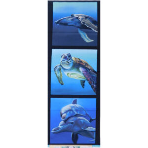 Patchwork Quilting Whale Turtle Dolphins Panel 40x110cm Fabric