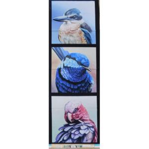 Patchwork Quilting Kingfisher Wren Galah Panel 40x110cm Fabric