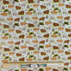Quilting Patchwork Sewing Fabric Roaming Mallee Wombats 50x55cm FQ