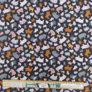 Quilting Patchwork Sewing Fabric Piggy Tales Allover 50x55cm FQ
