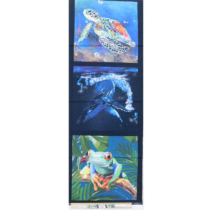 Patchwork Quilting Turtle Whale Frog Panel 40x110cm Fabric