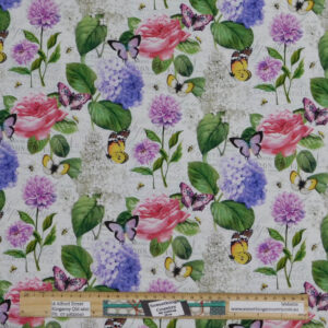 Quilting Patchwork Sewing Fabric Floral Butterfly Allover 50x55cm FQ