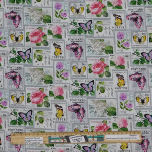 Quilting Patchwork Sewing Fabric Floral Butterfly Stamps 50x55cm FQ