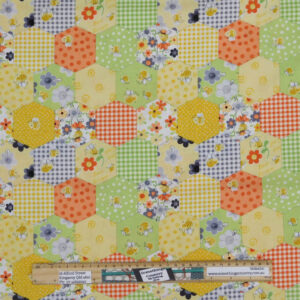 Quilting Patchwork Sewing Fabric Sweet Bees Honeycomb 50x55cm FQ