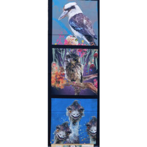 Patchwork Quilting Kookaburra Owl Emu Panel 40x110cm Fabric