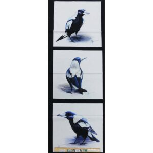 Patchwork Quilting Black White Magpies Panel 40x110cm Fabric