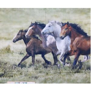 Patchwork Quilting Sewing Fabric Running Horses Panel 90x110cm