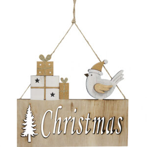 Country Rustic Wooden Sign Hanging Christmas with Bird