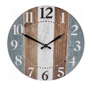 Clocks Wall Hanging Blue Brown White Boards Large 58cm