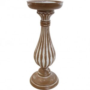 French Country Wooden Candle Stick Holder 27cm High