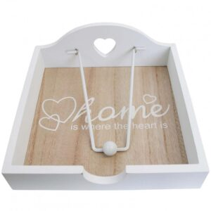 French Country Wooden Napkin Serviette Holder Home Heart Is