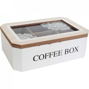 French Country Coffee Pods Box Rectangle White Mandala Holder