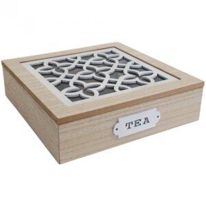 French Country Tea Bag Box Square White Tillie Teabag Holder