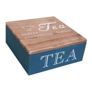 French Country Tea Bag Box Square Navy Better Teabag Holder