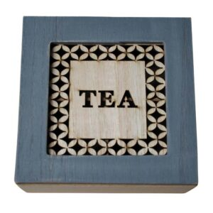 French Country Tea Bag Box Blue Cutouts Square Teabag Holder