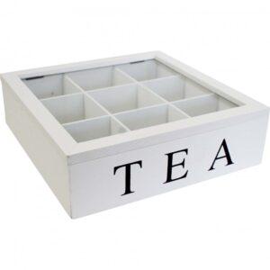 French Country Tea Bag Box Large White Square Teabag Holder
