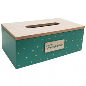 French Country Tissue Box Rectangle Indie Green Holder