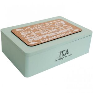 French Country Tea Bag Box Rectangle Varieties Blue Teabag Holder