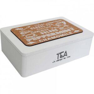 French Country Tea Bag Box Rectangle Varieties White Teabag Holder