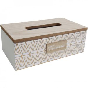 French Country Tissue Box Rectangle White Inca Holder Box