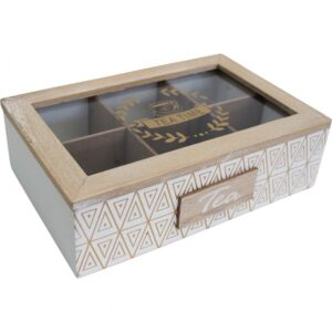 French Country Tea Bag Box Rectangle Inca White Teabag Holder
