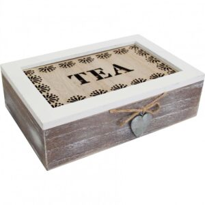 French Country Tea Bag Box Rectangle Rustic Heart Teabag Holder