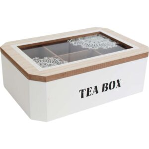 French Country Tea Bag Box Rectangle White Mandala Teabag Holder