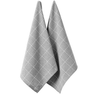 Ladelle Eco Check Tea Towels Grey Recycled Cotton Dish Cloths Set 2