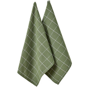 Ladelle Eco Check Tea Towels Green Recycled Cotton Dish Cloths Set 2