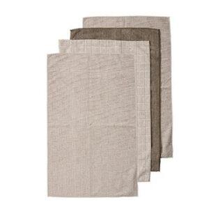 Ladelle Microfibre Kitchen Tea Towels Olive Taupe Dish Cloths Set 4