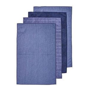 Ladelle Microfibre Kitchen Tea Towels Blue Dish Cloths Set 4