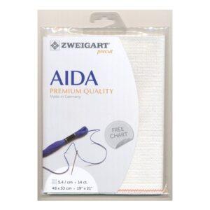 Cross Stitch Aida Cloth 14ct Zweigart White Sparkle 48x53cm Fabric