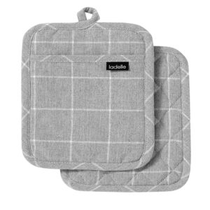 Ladelle Eco Check Recycled Grey Oven Pot Holders Set of 2