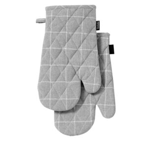 Ladelle Eco Check Recycled Grey Oven Gloves Set of 2 Kitchen