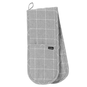 Ladelle Eco Check Recycled Grey Double Oven Mitts Set