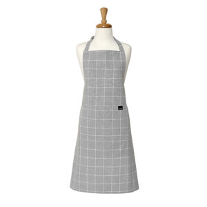 Ladelle Kitchen Cooking Eco Check Recycled Grey Apron Adult
