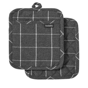Ladelle Eco Check Recycled Charcoal Oven Pot Holders Set of 2