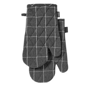 Ladelle Eco Check Recycled Charcoal Oven Gloves Set of 2
