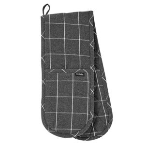 Ladelle Eco Check Recycled Charcoal Double Oven Mitts Set