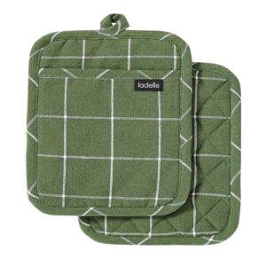 Ladelle Eco Check Recycled Green Oven Pot Holders Set of 2