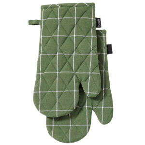Ladelle Eco Check Recycled Green Oven Gloves Set of 2 Kitchen