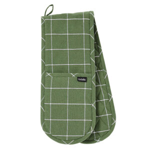 Ladelle Eco Check Recycled Green Double Oven Mitts Set