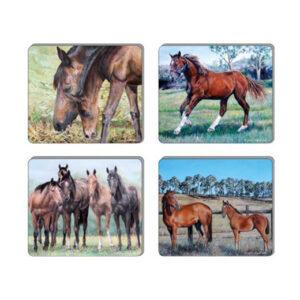 Ashdene Dining Kitchen Beauty of Horses Cork Back Coasters Set 4