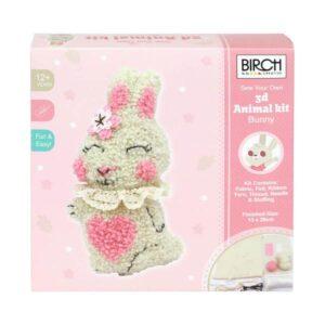 Birch Punch Needle Kit Kids Beginner 3D Bunny Inc Threads 13x26cm