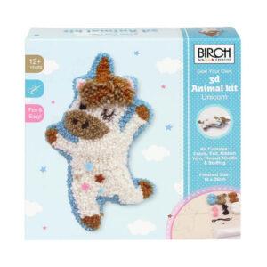 Birch Punch Needle Kit Kids Beginner 3D Unicorn Inc Threads 14x26cm